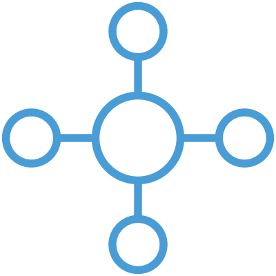 Blue connected circles icon