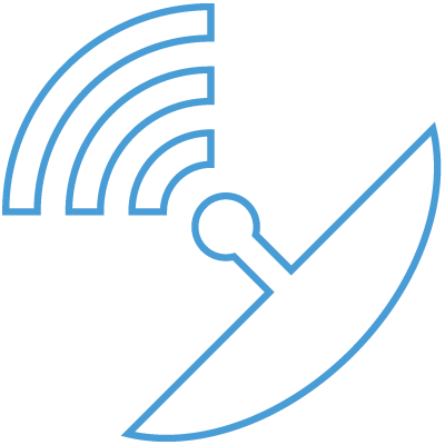 Blue radio wave icon