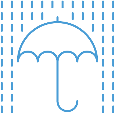 Blue rain over umbrella icon
