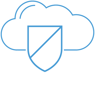 Blue cloud with shield icon
